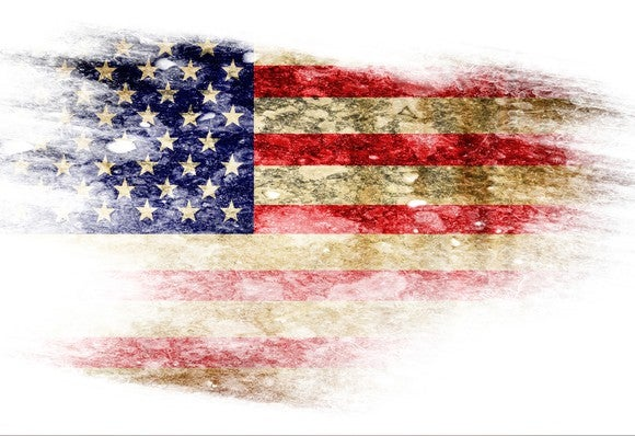 Worst American Stocks Tattered Flag