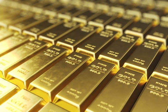 Lines of gold bars, neatly side-by-side