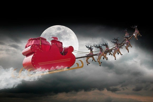 Santa Sleigh Against Moon