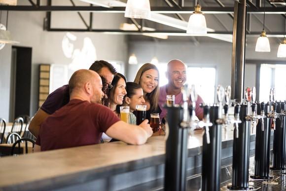 Craft Beer Crowd Group Bar Brewery Beerpub Taps Friends Getty