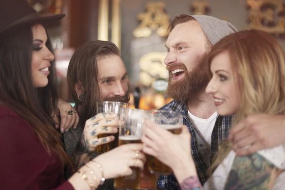 Craft Beer Hipster Drinking Alcohol Beard Finger Tattoos Men Women Getty