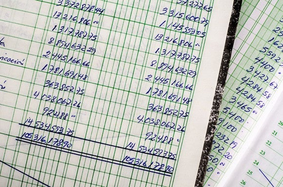 Financial ledger with numbers.
