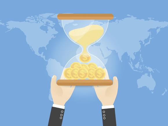 An hourglass of money