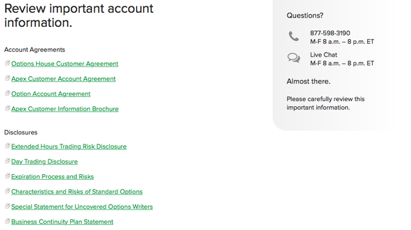 Review Account Terms