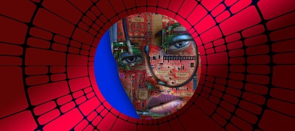 Human face overlaid with circuit board images.