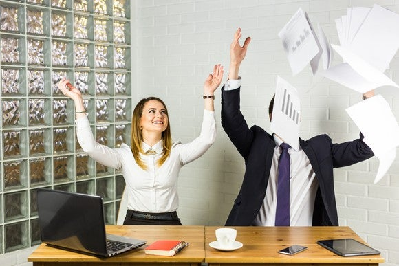 Getty Business People Excited Happy Smile Throwing Up Papers Documents Fly