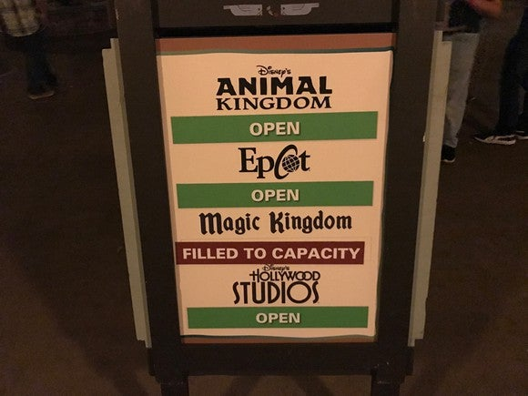 Sign showing Magic Kingdom is filled to capacity