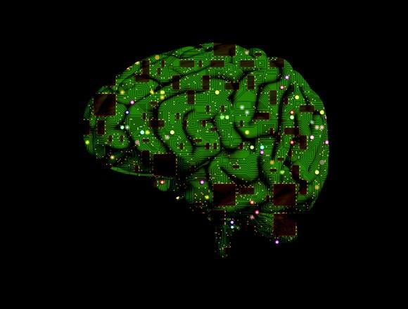 Human brain overlaid with computer circuits.