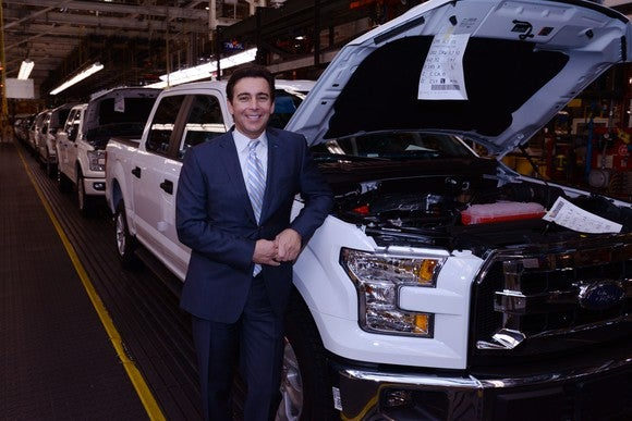 Mark Fields with an F-150 pickup