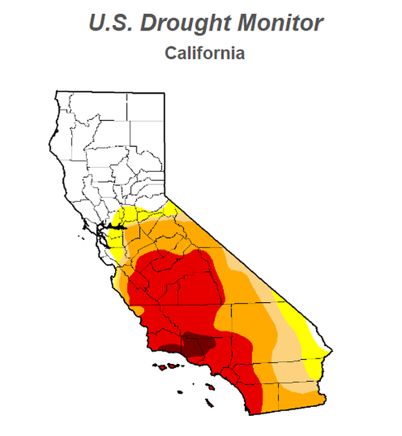 Map of California drought conditions. Darker shades correspond to more intense drought conditions. Data released on Jan. 12. Image source: U.S. Drought Monitor.