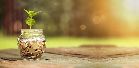 Jar of coins with a small plant sprouting out of it.
