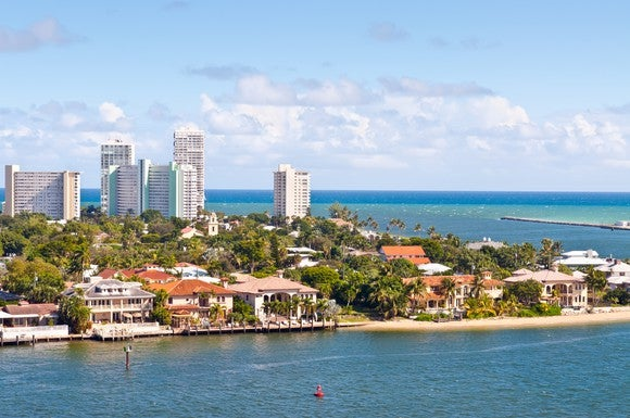A view of Ft. Lauderdale, Florida on the ocean.
