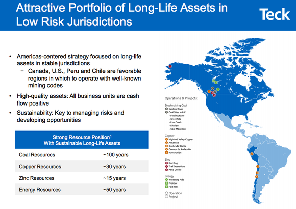 Map showing Teck Resources' current and prospective assets