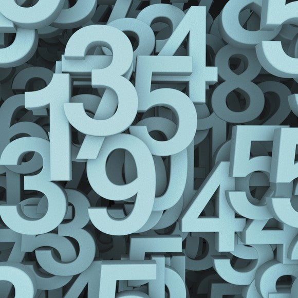 A clustered grouping of random numerals.