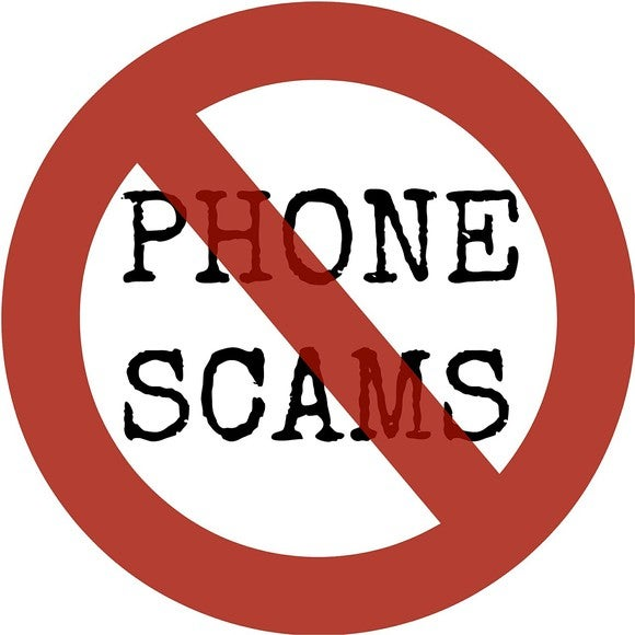 "the words ""phone scams"" with a line drawn through them"