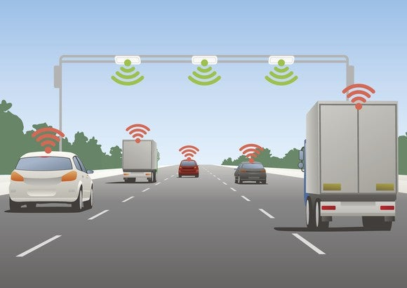 Cars on highway sending signals to each other and the roadway.