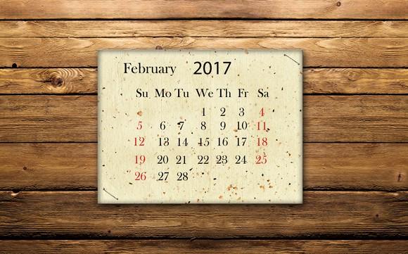February 2017 calendar on wood wall