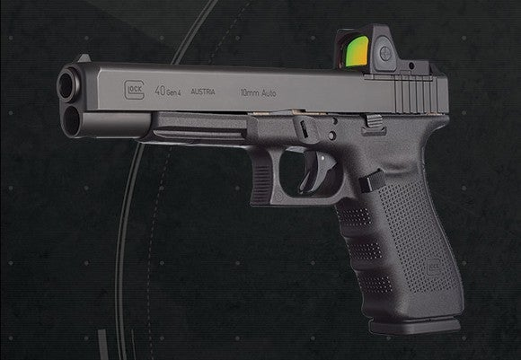 A Glock 40 10mm semiautomatic pistol in MOS configuration