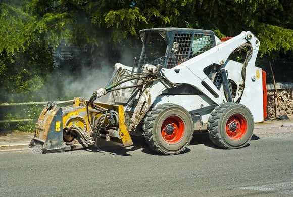 Skid steer at construction site, where United Rentals is a key equipment provider.