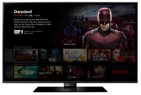 TV displaying Netflix Original: Marvel's Daredevil