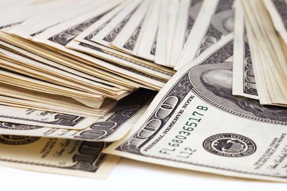 Stacks of hundred dollar bills.