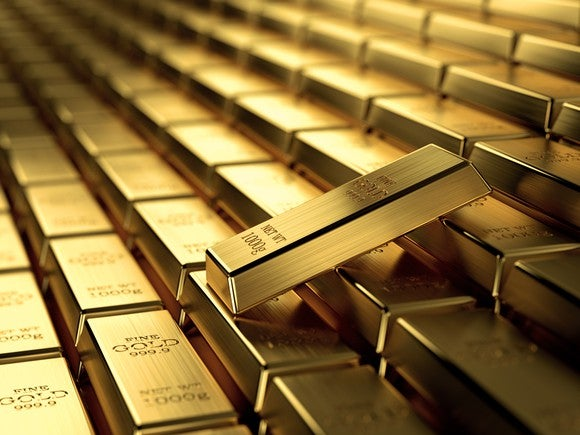 Stack of gold bars.