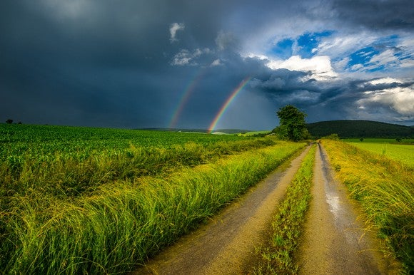 Rural road leading to a rainbow