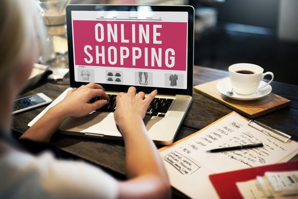 Online shopping banner on computer screen