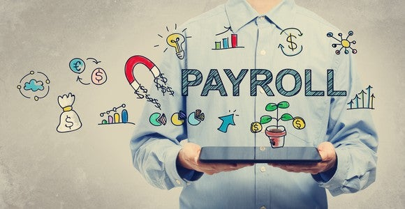Word payroll in a man's hands