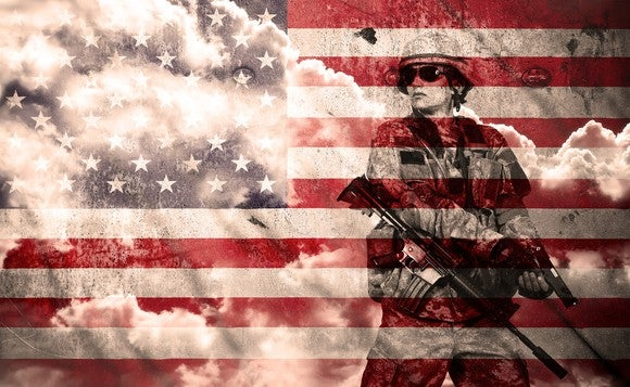 Soldier superimposed on American flag.