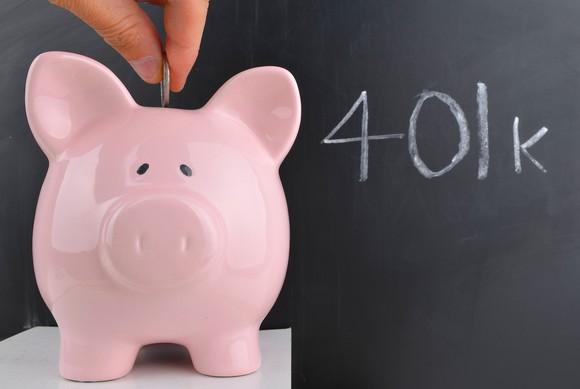Piggy bank with 401k written on a chalkboard.