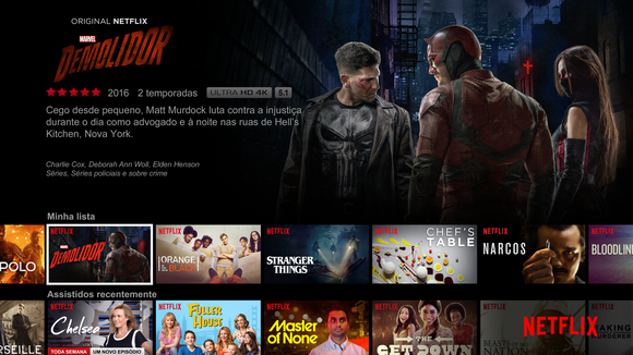 Netflix home page displaying images from Marvel's Daredevil, a Netflix original.