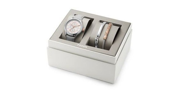 A Fossil watch and gift set