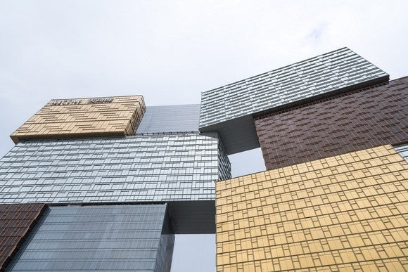 "MGM Resorts new Cotai casino with its distinctive ""jewelry box"" design"