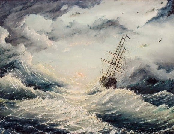 Ship in sea-storm.