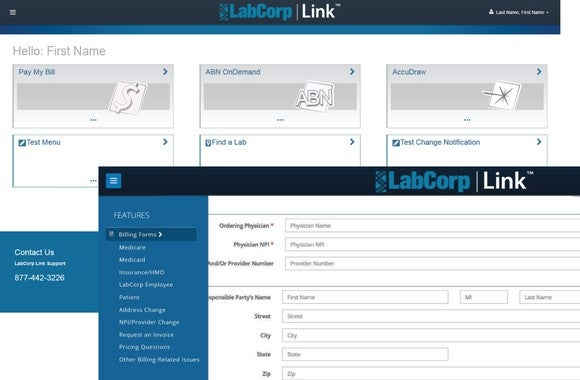 LabCorp billing software entry screen