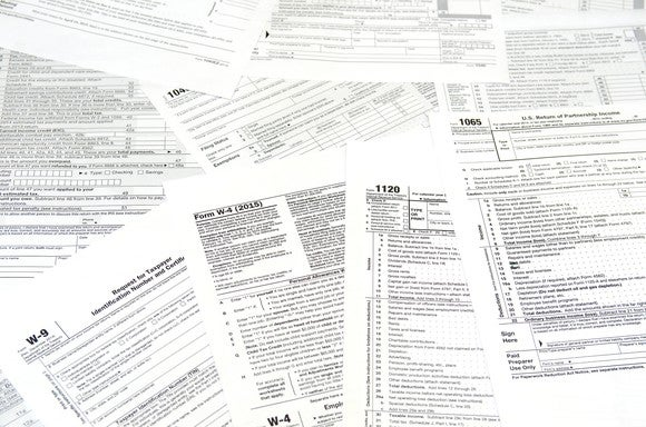 Pile of tax forms.