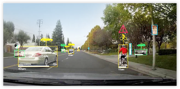 View of a street from the interface of a self-driving car.