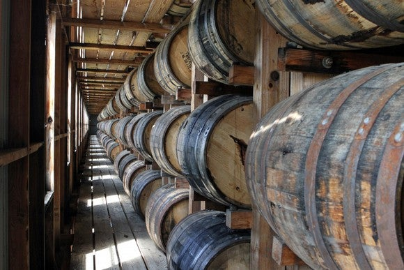 Whiskey barrels aging at Wild Turkey Distillery