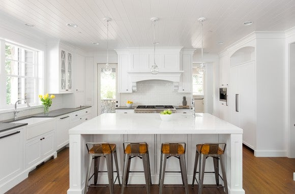 Kitchen with white countertops