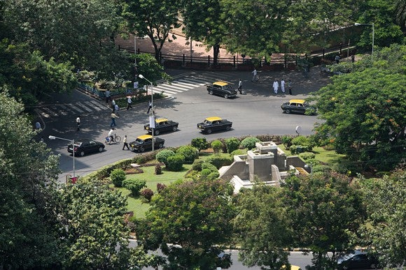 A traffic circle in India