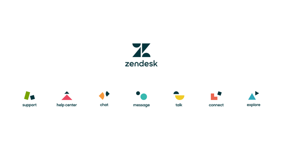 The Zendesk log and the logos of all the company's major products.
