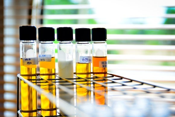 Chemicals in tubes on a lab bench