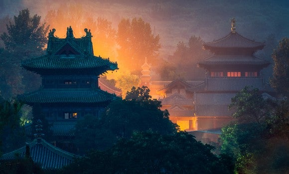 Chinese temples among the trees
