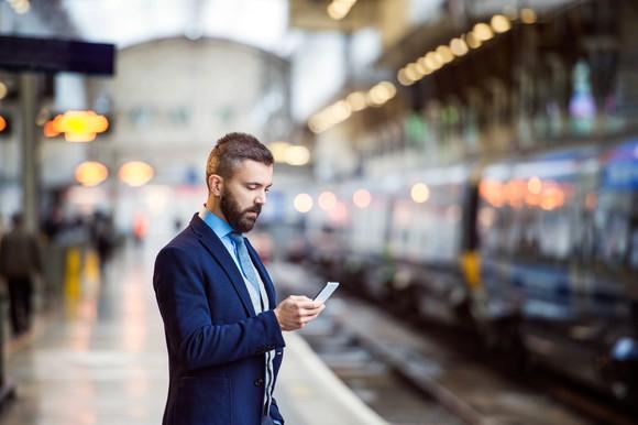 Businessman using his smartphone.