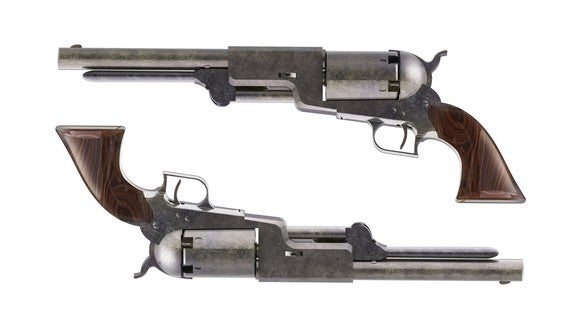 Two revolvers, one upside down.