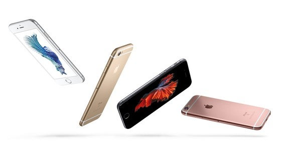 A group of Apple iPhones at different angles.