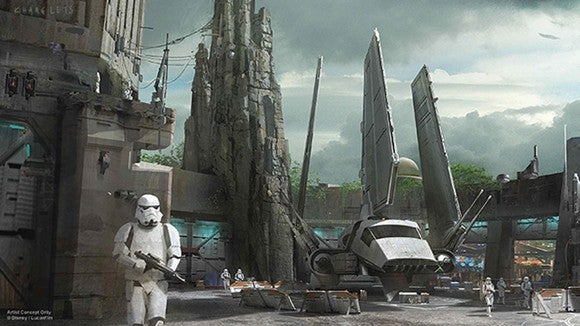 Initial concept art for Star Wars Land with the Millennium Falcon.