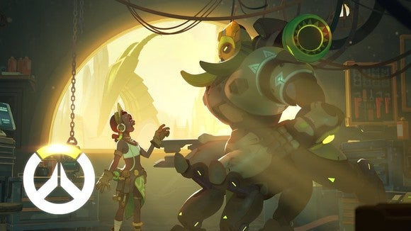 A scene from the popular game Overwatch with a girl talking to a large creature in a fantasy setting.