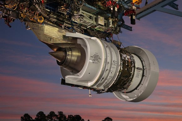 pratt & Whitney's geared turbo fan engine being tested
